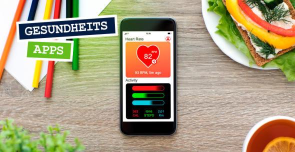Ein Smartphone, auf dem eine Gesundheits-App geöffnet ist.