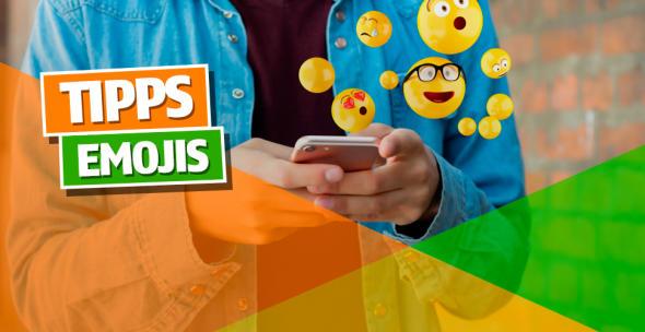 Verschiedene Emojis fliegen aus einem Smartphone.