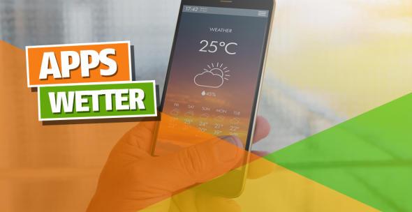 Auf einem Smartphone ist eine Wetter-App geöffnet.