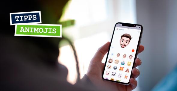 Auf einem Smartphone ist eine Auswahl an Animojis dargestellt.