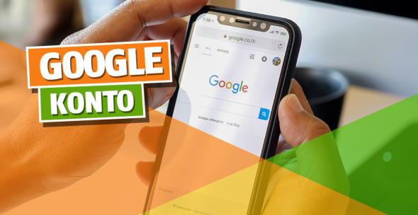 Auf einem Smartphone ist die Google-Seite geöffnet.
