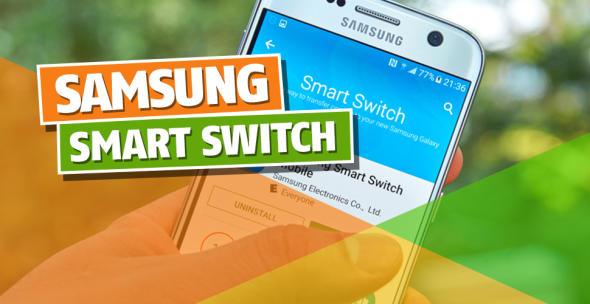 Ein Smartphone-Nutzer lädt die App Samsung Smart Switch herunter.