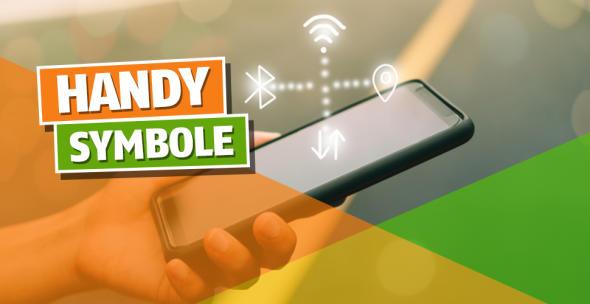 Ein Smartphone auf dem verschiedene Handy Symbole sichtbar sind.