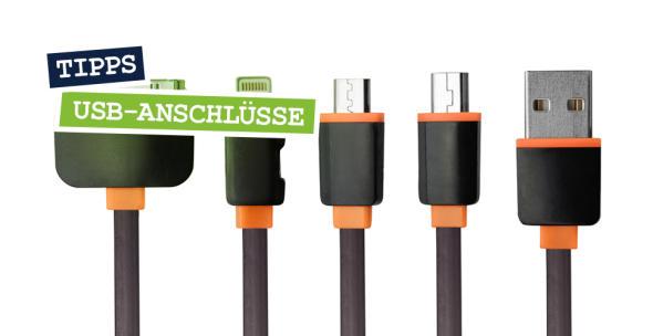 Verschiedene USB-Anschlüsse in der Reihe.