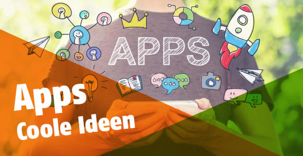 Konzeptbild: Ein User mit dem Schriftzug Apps und diversen Symbolen.