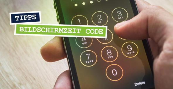 Smartphone mit Sperrcode auf dem Display.