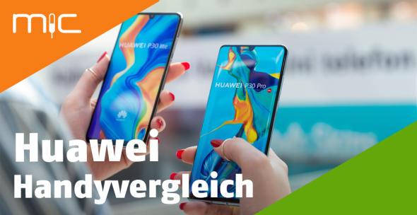 Eine Frau hält zwei Huawei-Handys in den Händen.