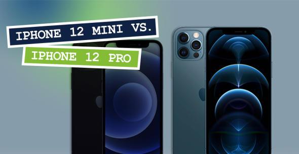Das iPhone 12 mini und iPhone 12 Pro nebeneinander