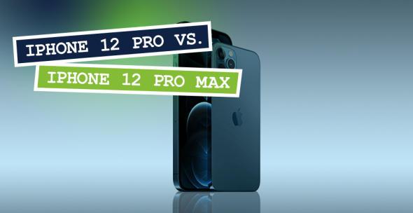 Das iPhone 12 Pro und iPhone 12 Pro Max vor blauem Hintergrund.