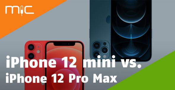 Das iPhone 12 mini und iPhone 12 Pro Max auf grauem Hintergrund.