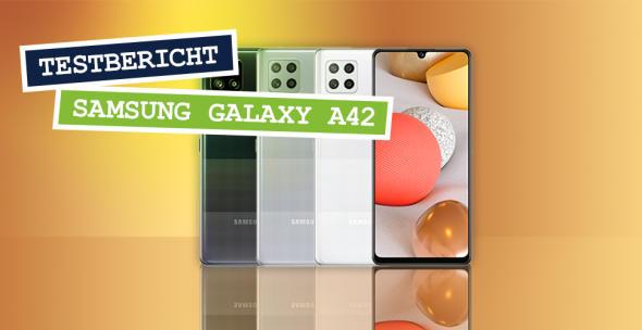 Das Samsung Galaxy A42 in allen drei Farbvarianten.