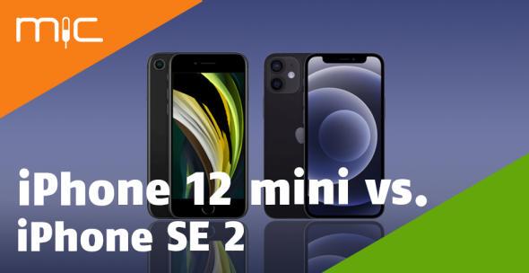 Das iPhone SE 2 und iPhone 12 mini nebeneinander.