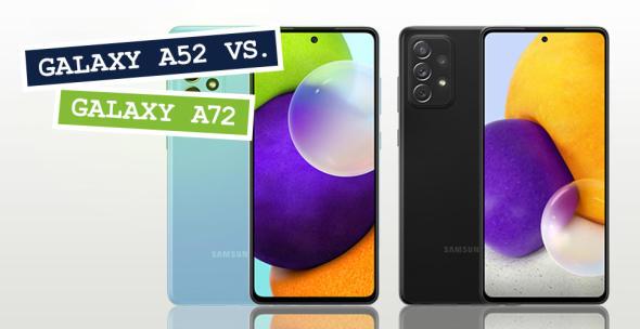 Das Samsung Galaxy A52 und das Galaxy A72 nebeneinander.