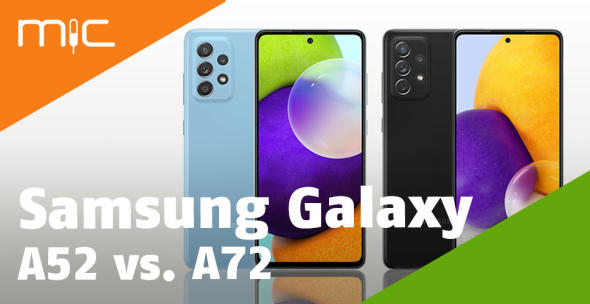 Samsung Galaxy A52 und Samsung Galaxy A72 nebeneinander