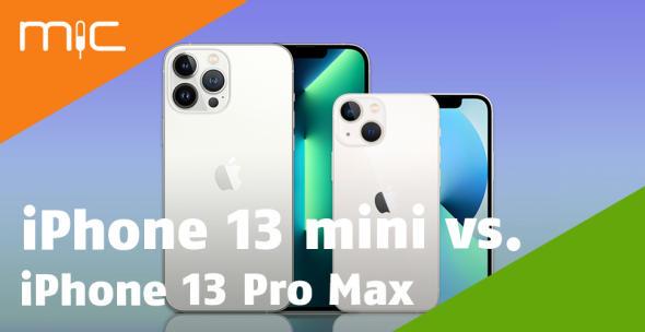 iPhone 13 Pro Max und iPhone 13 mini nebeneinander mit Vorder- und Rückseite